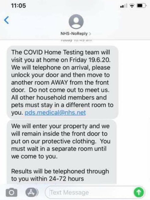 Image of a scam text message found by the Chartered Trading Standards Institute