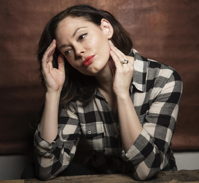 Rose McGowan poses for a portrait at Quaker Good Energy Lodge with GenArt and the Collective during the Sundance Film Festival (Victoria Will/Invision/AP)