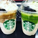 <p>It's a two-for-one with this Frappuccino! The bright green drink tastes like almond, chocolate cake, and matcha. It's finished with a mini chocolate cake, matcha drizzle, matcha powder, and whipped cream. The Coffee Shot version replaces the matcha with coffee flavors. We'll take both, please!</p>