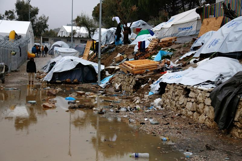 Conditions at the Moria refugee camp on Lesbos in January 2017: AP