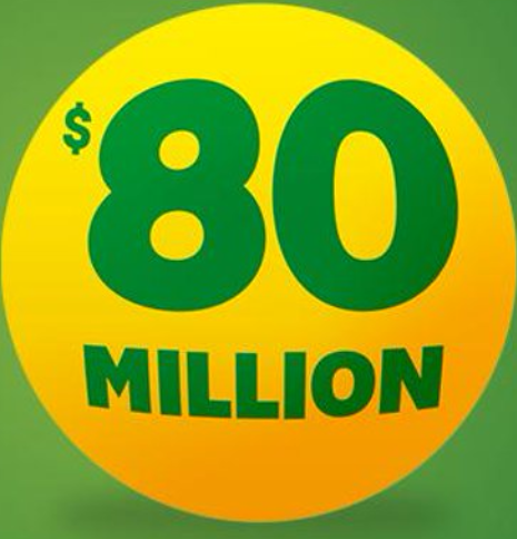 The $80 million Oz Lotto promo poster. The most successful lotto numbers have been revealed