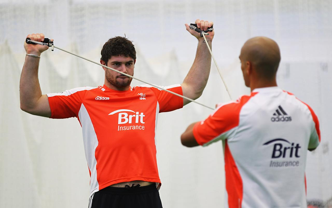 LOUGHBOROUGH, ENGLAND - NOVEMBER 17:  Tom Maynard of England in action during an ECB England Performance Programme Training and Portraits session at the National Cricket Performance Centre on November 17, 2011 in Loughborough, England.  (Photo by Matthew Lewis/Getty Images)