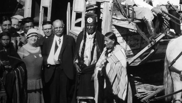 Senator Charles Curtis (with arm in sling) in Pawnee, Okla., in 1928, shortly before his vice presidential election victory.  / Credit: CBS News