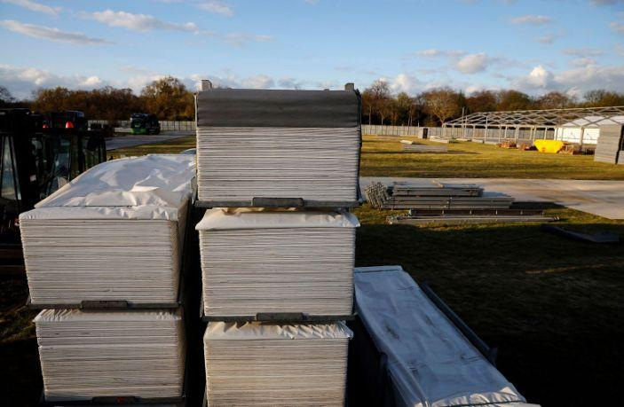 The site of a temporary mortuary during construction in Manor Park, east London on April 2, 2020, as part of Britain's government's plans to deal with the COVID-19 pandemic. (Tolga Akmen / AFP - Getty Images)