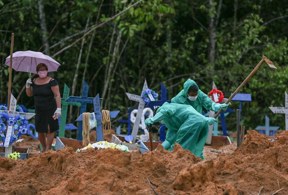 Cemetary workers dig graves for victims and suspected victims of the COVID-19 coronavirus pandemic at the Nossa Senhora cemetary in Manaus, Amazon state, Brazil on May 6, 2020. (Photo by MICHAEL DANTAS / AFP) (Photo by MICHAEL DANTAS/AFP via Getty Images)