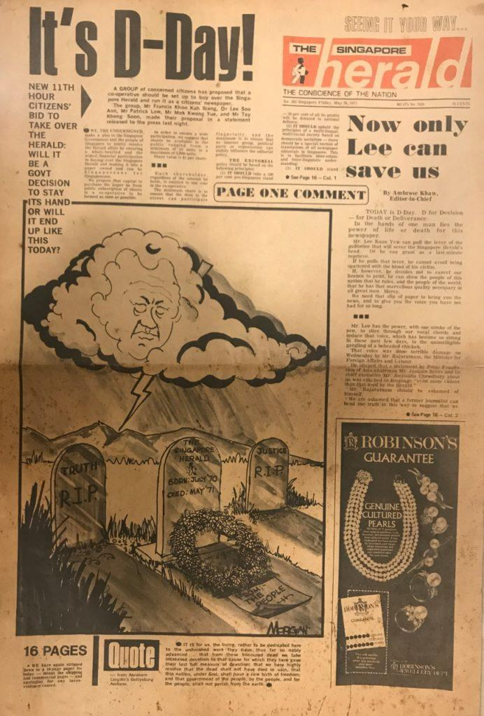 A page from the Singapore Herald dated May 28, 1971. Courtesy of Cherian George.