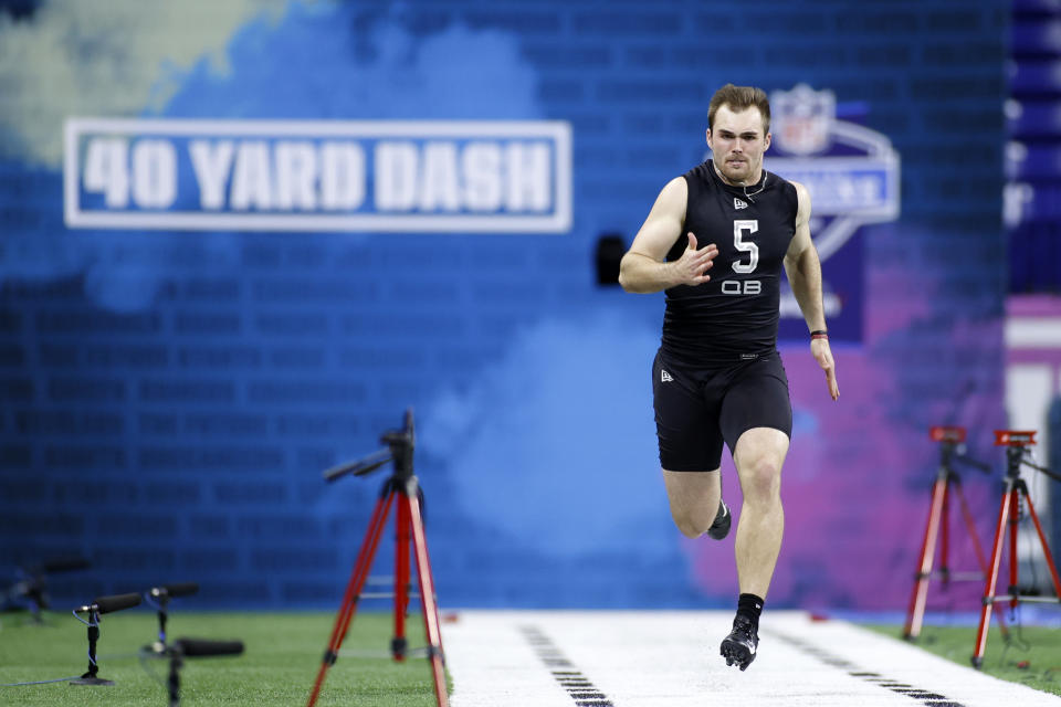 Georgia QB Jake Fromm's slow 40-yard dash was only a small part the problem at the NFL combine. (Photo by Joe Robbins/Getty Images)