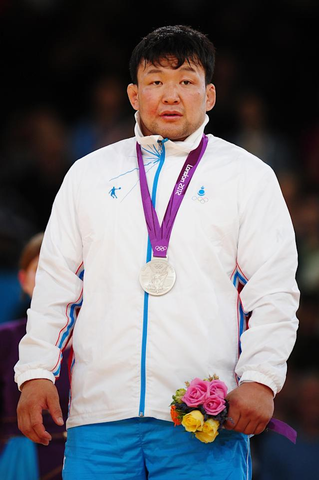 LONDON, ENGLAND - AUGUST 02: Silver medalist Tuvshinbayar Naidan of Mongolia in the Men's -100 kg Judo on Day 6 of the London 2012 Olympic Games at ExCeL on August 2, 2012 in London, England. (Photo by Laurence Griffiths/Getty Images)