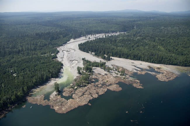 Contents from a tailings pond flow down Hazeltine Creek into Quesnel Lake near the town of Likely, B.C.