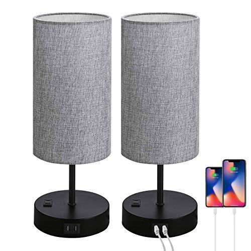 Set of 2 Touch Control Bedside Table Lamp, 3-Way Dimmable Nightstand Lamps with 2 USB Charging…