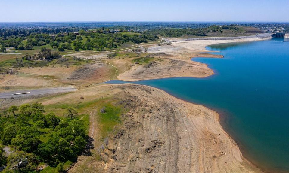 Drought has decreased the water levels in Folsom Lake in Folsom, California, US, as the US faces its driest spring in seven years.