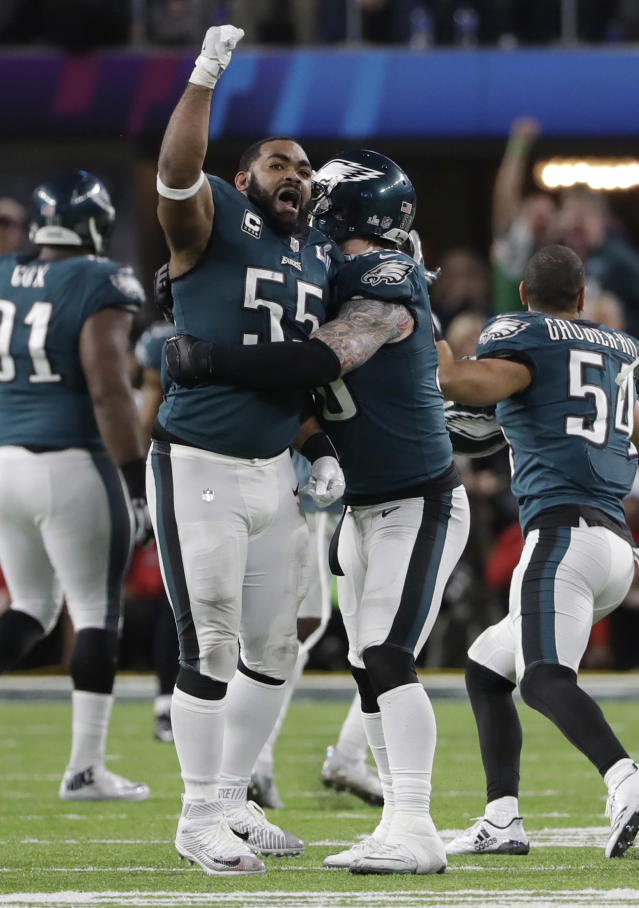 <p>Philadelphia Eagles defensive end Brandon Graham (55) celebrates after causing a fumble by New England Patriots quarterback Tom Brady, during the second half of the NFL Super Bowl 52 football game, Sunday, Feb. 4, 2018, in Minneapolis. (AP Photo/Chris O'Meara) </p>