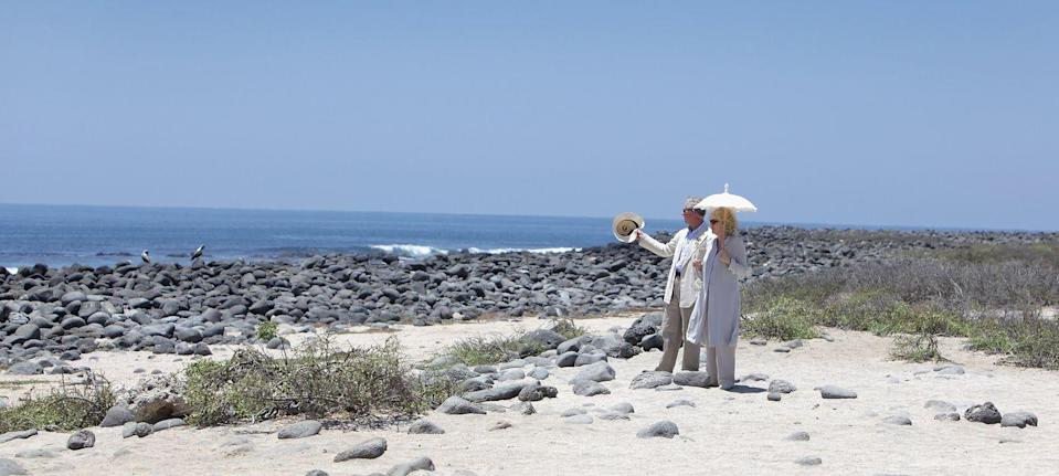 <p>A romantic landscape photo of the royal couple walking along the beach on North Seymour Island during a tour of the Galapagos.</p>
