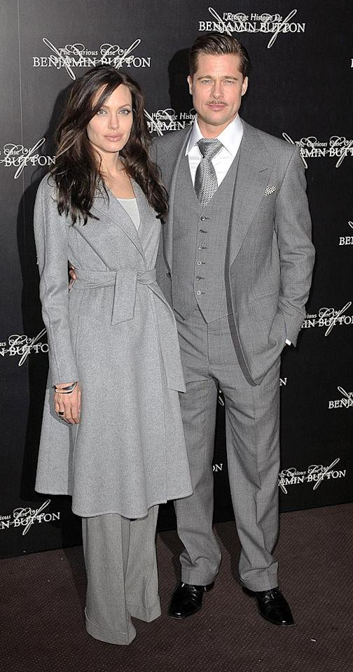 """It was a big week for Angelina Jolie and Brad Pitt, seen here at the Paris premiere of """"The Curious Case of Benjamin Button."""" Both earned Best Acting Oscar nods on Thursday. Dominique Charriau/<a href=""""http://www.wireimage.com"""" target=""""new"""">WireImage.com</a> - January 22, 2009"""