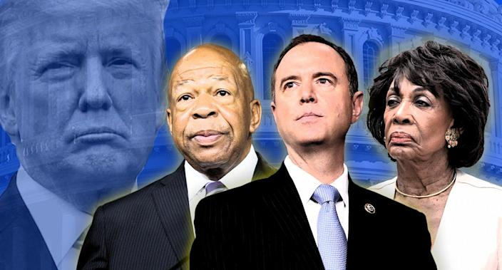 President Trump and likely Democratic House committee leaders Elijah Cummings, Adam Schiff and Maxine Waters. (Photo illustration: Yahoo News; photos: AP)