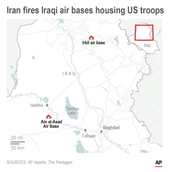 Map shows Iran missile strikes against two Iraqi air bases housing U.S. troops; 2c x 3 1/2 inches; 96.3 mm x 88 mm;
