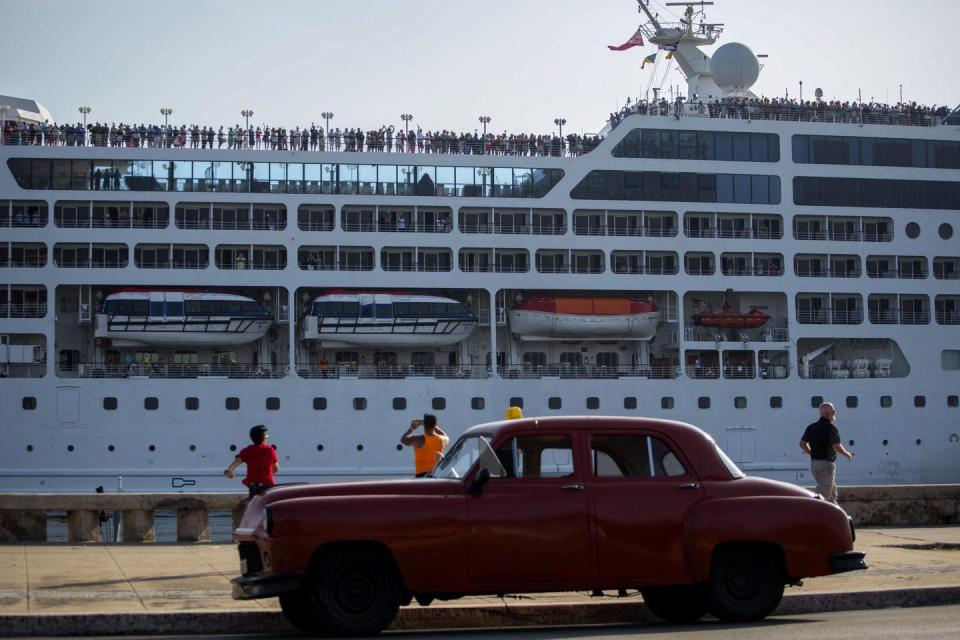 """<span class=""""caption"""">An American cruise ship that arrived from Miami is seen in the Havana harbour in 2016.</span> <span class=""""attribution""""><span class=""""source"""">(AP Photo/Desmond Boylan)</span></span>"""
