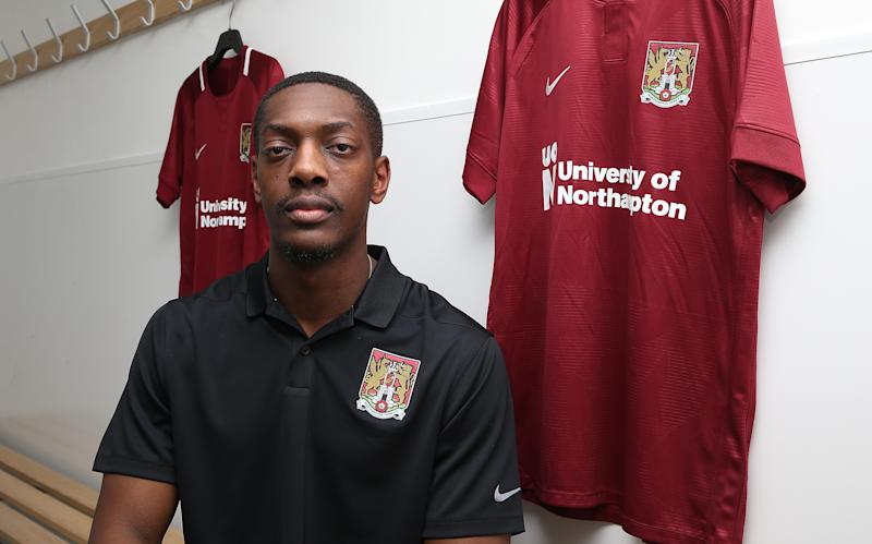 NORTHAMPTON, ENGLAND - JANUARY 31: Northampton Town new signing Marvin Sordell poses during a photo call at PTS Academy Stadium on January 31, 2019 in Northampton, England. (Photo by Pete Norton/Getty Images)