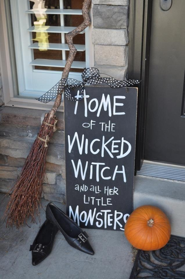 "<p>Hand-paint a sign, add some black shoes, throw in a broom and you've got a wicked witch-themed porch. Do one better and add a sound bite of ""I'll get you my pretty"" playing on loop.</p><p>See more at <a href=""http://blog.bostoninteriors.com/2013/10/04/get-ready-for-halloween/"" rel=""nofollow noopener"" target=""_blank"" data-ylk=""slk:Boston Interiors"" class=""link rapid-noclick-resp"">Boston Interiors</a>.</p>"