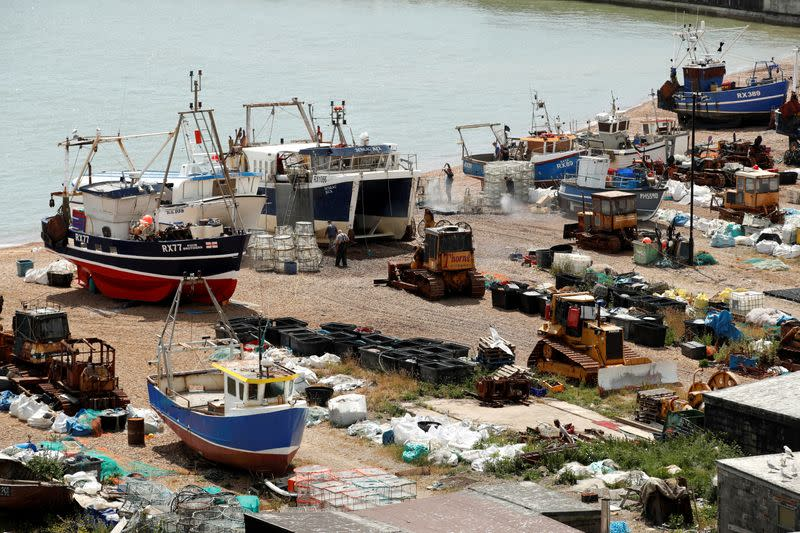 FILE PHOTO: Fishing boats and fisherman in Hastings