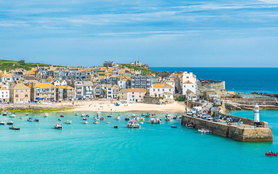 Elevated views of the popular seaside resort of St. Ives - Getty
