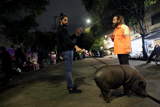 <p>A man talks to a neighbor while holding his pet pig on a leash after they were asked to evacuate their homes, after an earthquake in Mexico City, Mexico, Sept. 22, 2017. (Photo: Jose Luis Gonzalez/Reuters) </p>
