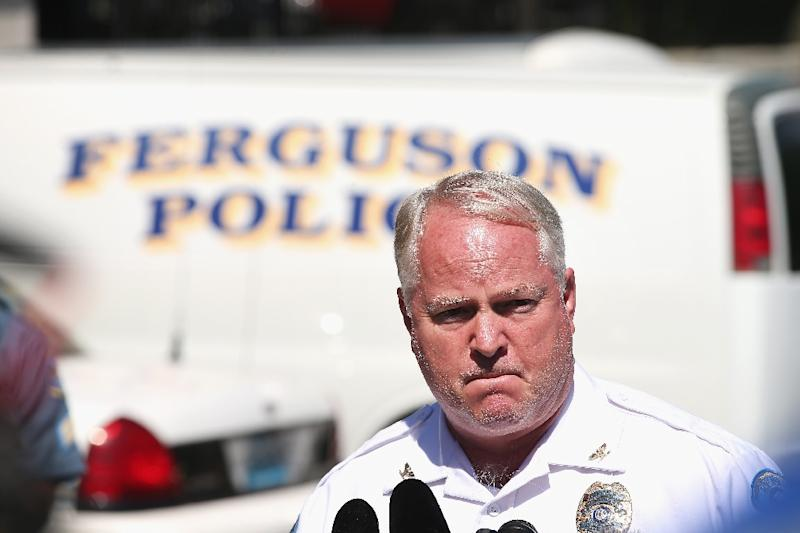 Ferguson Police Chief Thomas Jackson, pictured here on August 13, 2014, resigned on March 11, 2015 -- a week after a scathing US Justice Department report into the fatal shooting of unarmed black teenager Michael Brown (AFP Photo/Scott Olson)