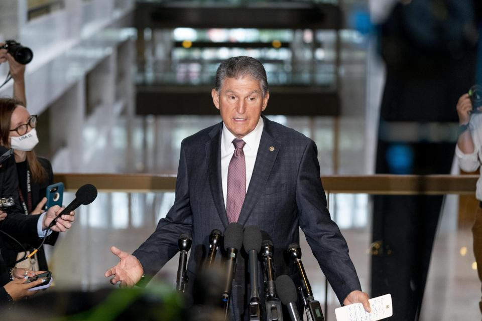Sen. Joe Manchin speaks at a news conference outside of his office on Capitol Hill in Washington on Wednesday, Oct. 6, 2021.