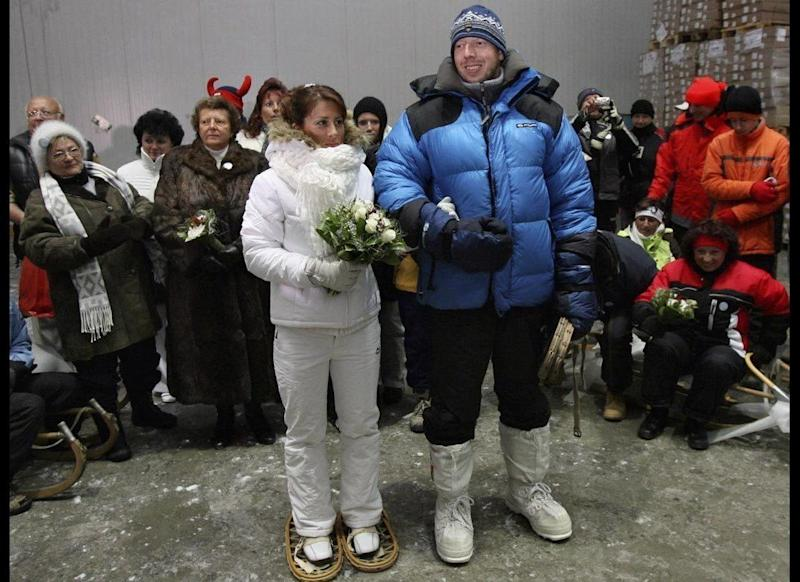 Chill Out: Czech polar explorer Vaclav Sura, right, took his cool hobby to new levels by marrying his bride, Martina Kolouchova in an industrial freezing box in Jirny, near Prague, on July 21, 2007. The temperature during their ceremony was a crisp minus 22 degrees Fahrenheit, but nothing Sura couldn't handle since he'd conquered an expedition to the North Pole two years prior to tying the knot.