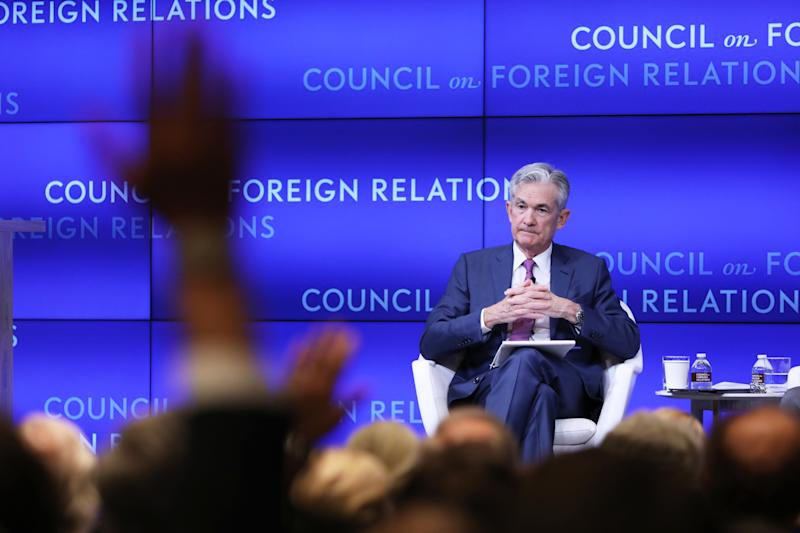 NEW YORK, NEW YORK - JUNE 25: Jerome Powell (left), chairman of the Board of Governors of the Federal Reserve, takes questions while speaking in conversation with Neil Irwin of the New York Times at the Council on Foreign Relations on June 25, 2019 in New York City. Powell discussed the challenges facing the U.S. economy and the policies of the U.S. Federal Reserve. (Photo by Spencer Platt/Getty Images)