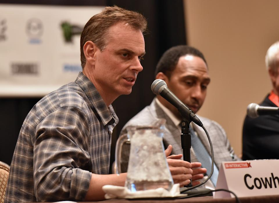 AUSTIN, TX - MARCH 13:  (L-R) Colin Cowherd (L) and Stephen A. Smith speak onstage at 'The Evolution of Audio in the 21st Century' during the 2015 SXSW Music, Film + Interactive Festival at Four Seasons Hotel on March 13, 2015 in Austin, Texas.  (Photo by Amy E. Price/Getty Images for SXSW)