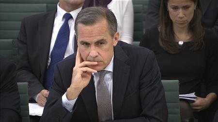 The Governor of the Bank of England Mark Carney listens to a question from the parliament's Treasury Committee in this still image taken from video in Westminster, London, September 12, 2013. REUTERS/UK Parliament via Reuters TV