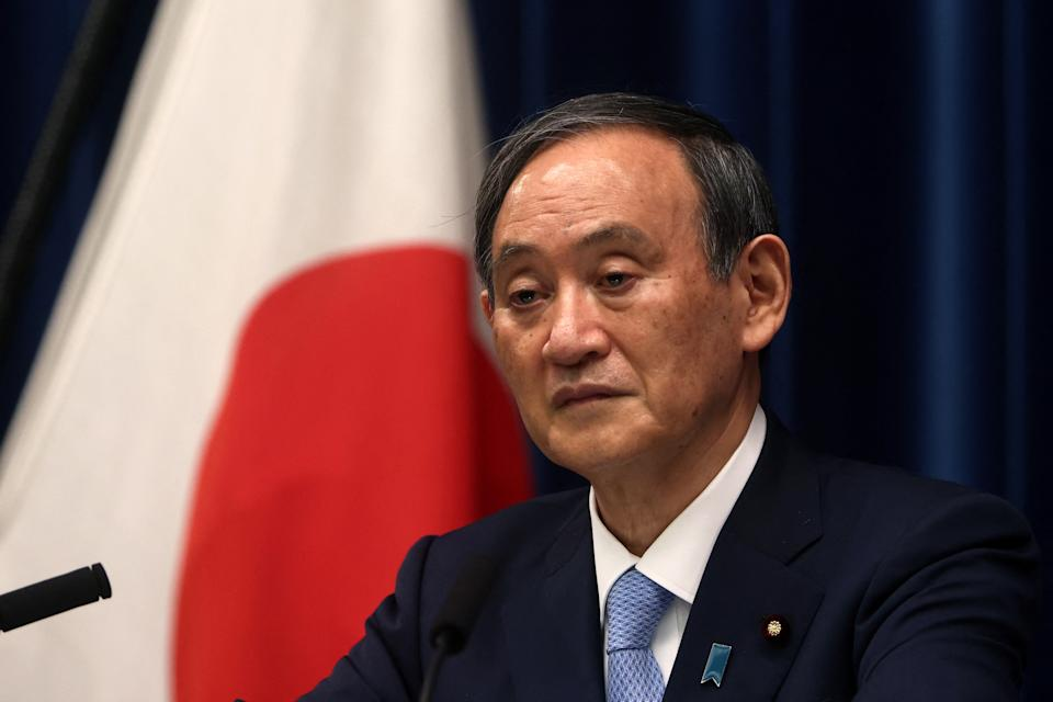 Japan's Prime Minister Yoshihide Suga speaks during a press conference at the prime minister's official residence in Tokyo on May 28, 2021, as the government expanded a coronavirus state of emergency. (Photo by Behrouz MEHRI and BEHROUZ MEHRI / POOL / AFP) (Photo by BEHROUZ MEHRI/POOL/AFP via Getty Images)