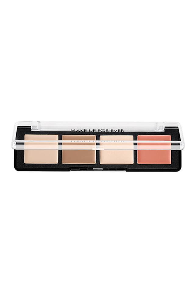 "<p>For an all-in-one product, makeup artist Jaleesa Jaikaran–she's worked for everyone from Jeremy Scott to Zac Posen–always reaches for Make Up For Ever's Pro Sculpting Palette. ""It's versatile and blends seamlessly into the skin. It's a full look in one palette and it has a color for every skin tone,"" she says. ""You can contour, color correct, and highlight all in one.""</p><p>Julianne Kaye, the makeup pro behind Britney Spears, Gigi Hadid, and Gisele Bündchen's flawless looks, is a huge fan of the palette as well: ""I especially like to work with cream for contour because I have better control with blending and I can do it under the foundation or afterwards depending on the look.""<span></span><br></p><p>Make Up For Ever Pro Sculpting Palette, $45; <u><a rel=""nofollow"" href=""http://www.sephora.com/pro-sculpting-face-palette-P404776?keyword=Makeup%20Forever%E2%80%99s%20Pro%20Sculpting%20Palette&skuId=1779784&_requestid=58652"">sephora.com</a></u></p>"