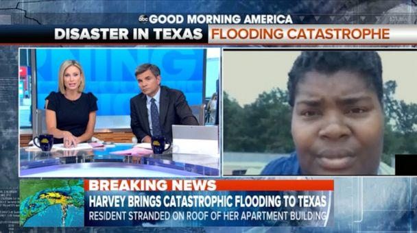 PHOTO: Iashia Nelson was interviewed live on Good Morning America from a roof in Houston as she waited to be rescued during Hurricane Harvey in 2017. (ABC News)