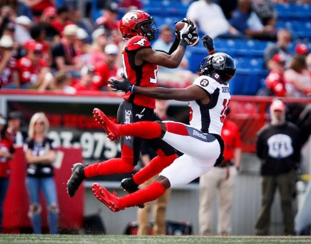 """CALGARY — Redblacks quarterback Dominique Davis compensated for passing mistakes with his legs in Ottawa's 32-28 win over the Calgary Stampeders on Saturday.Intercepted four times, Davis scored three rushing touchdowns, including the winner, in the Redblacks' first win at McMahon Stadium in the team's six-year history.Trailing 28-25, Ottawa led for the first time in the game with a minute and a half to play on the quarterback's five-yard carry to score.It was just the third career CFL start for the 29-year-old Davis, who is trying to establish himself as Ottawa's No. 1 following the departure of Trevor Harris to the Edmonton Eskimos in the off-season.""""For us as a team, it's huge,"""" Davis said. """"We haven't won in Calgary since the Redblacks first started.""""It's a great confidence-booster for and us. For me, definitely not the way I want to play, but I just kept plugging away. My teammates had my back through it all.""""Lewis Ward kicked field goals from 43, 26 and 30 yards and Richie Leone contributed a pair of punt singles in a rematch of combatants from the 2018 Grey Cup.Calgary beat Ottawa 27-16 to claim the CFL's championship trophy in Edmonton last November.The Stampeders defence generated a lot of Calgary's offence.Halfback Brandon Smith scored off an interception. The Stampeders turned two of Tre Roberson's three picks in the game into touchdowns.Don Jackson and Juwan Brescacin scored majors for the hosts in front of an announced 26,301. Rene Paredes kicked field goals from 17 and 42 yards.Davis completed 29-of-44 passes for 276 yards.""""We did a good job of responding every time I turned it over,"""" Davis said.With 275 passing yards in the game, Stampeders quarterback Bo Levi Mitchell reached a career 24,748 and moved past Russ Jackson (24,593) into the CFL's all-time top 20.Mitchell completed 23-of-29 passes Saturday.His throw to a covered Michael Klukas in the end zone on the final play of the game was intercepted by Jonathan Rose to preserve Ottawa's victory.""""Defen"""