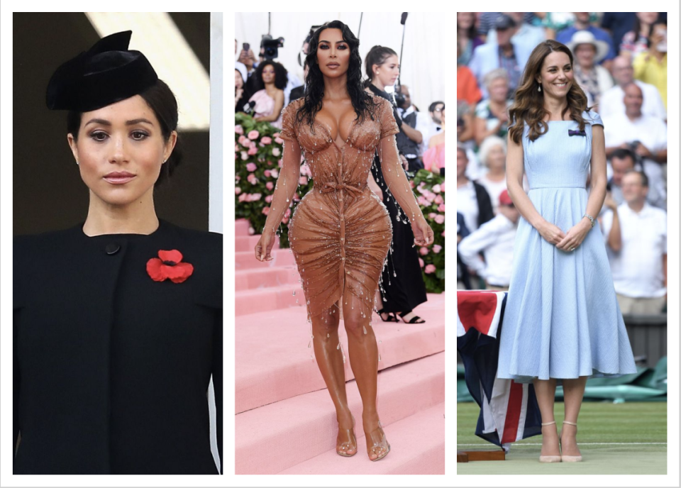 Meghan Markle, Kim Kardashian and Duchess Kate Middleton are among the most searched International celebrities on Yahoo. (PHOTO: Getty Images)