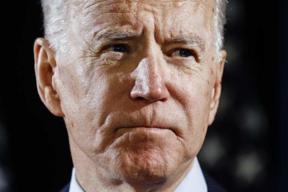 FILE - In this March 12, 2020, file photo Democratic presidential candidate former Vice President Joe Biden speaks about the coronavirus Thursday, March 12, 2020, in Wilmington, Del. (AP Photo/Matt Rourke, File)
