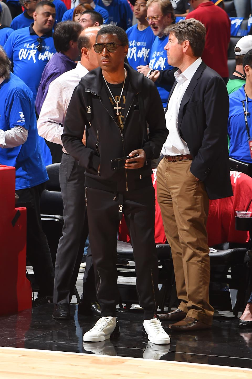 Singer Babyface attends Game Three of Round One of the 2019 NBA Playoffs on April 18, 2019 at STAPLES Center in Los Angeles, California. NOTE TO USER: User expressly acknowledges and agrees that, by downloading and/or using this Photograph, user is consenting to the terms and conditions of the Getty Images License Agreement. Mandatory Copyright Notice: Copyright 2019 NBAE (Photo by Andrew D. Bernstein/NBAE via Getty Images)