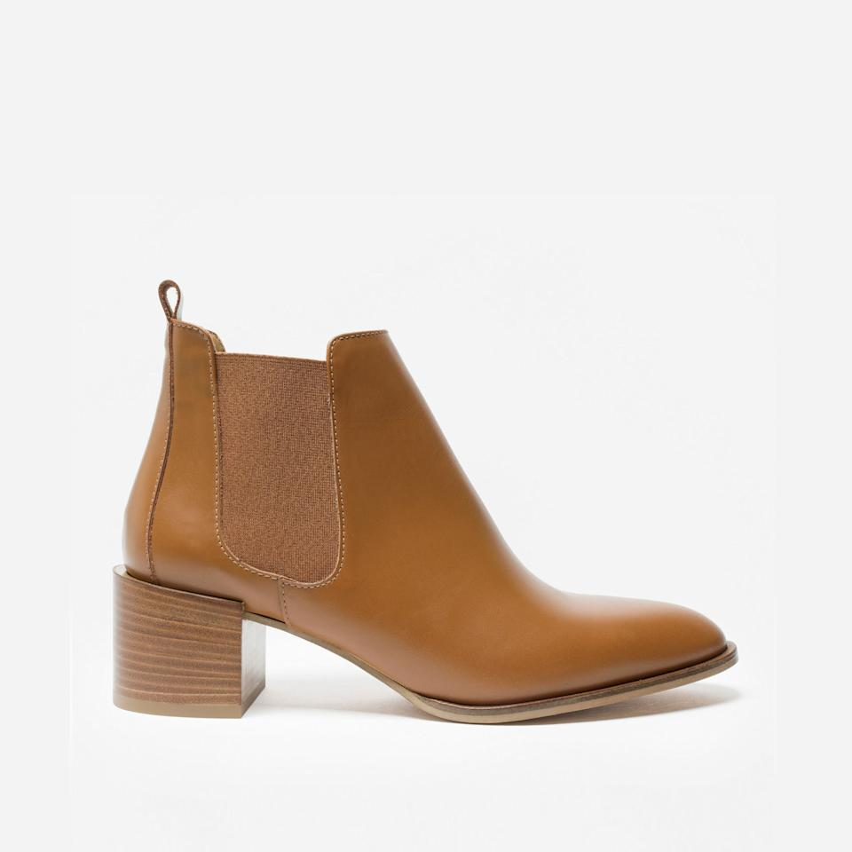 """<h3><a href=""""https://www.everlane.com/products/womens-modern-heel-boot-cognac?collection=womens-boots"""" rel=""""nofollow noopener"""" target=""""_blank"""" data-ylk=""""slk:The Heel Boot"""" class=""""link rapid-noclick-resp"""">The Heel Boot<br></a></h3><br>Need a simple style with just a little bit of height? This subtle-but-elevated two-inch heel will give you just the right boost, without sacrificing comfort.<br><br><strong>Everlane</strong> The Heel Boot, $, available at <a href=""""https://go.skimresources.com/?id=30283X879131&url=https%3A%2F%2Fwww.everlane.com%2Fproducts%2Fwomens-modern-heel-boot-cognac%3Fcollection%3Dwomens-boots"""" rel=""""nofollow noopener"""" target=""""_blank"""" data-ylk=""""slk:Everlane"""" class=""""link rapid-noclick-resp"""">Everlane</a>"""