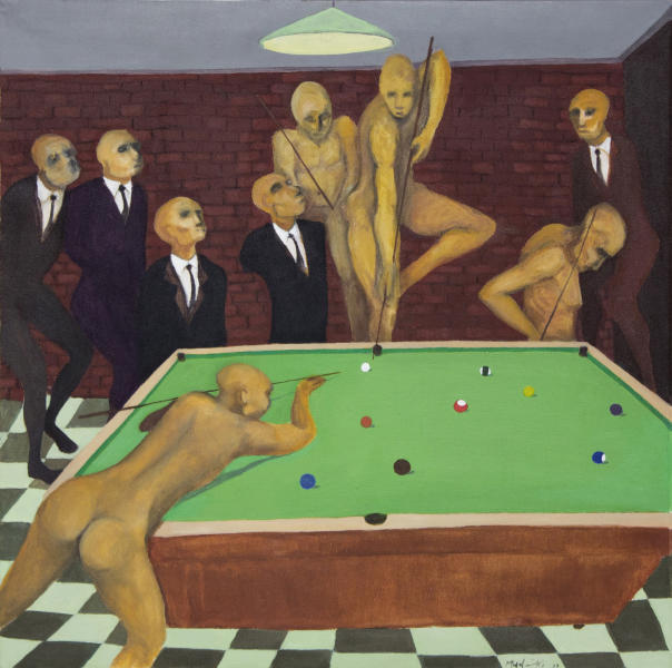 """This supplied photograph with permission granted to publish shows a reproduction of """"The Gentleman's Game"""" produced in 2011 by emerging Zimbabwean artist Richard Mudariki. Mudariki's colorful, modernist and abstract paintings reflect his upbringing, the social turmoil in his homeland, and the challenges the country still faces. Several pieces have been bought by the Equatorial Guinea Museum of Modern Art and are on display at the Johannesburg Art Fair, Africa's largest exhibition of contemporary African art. (AP Photo/Johans Borman Fine Art, HO)"""