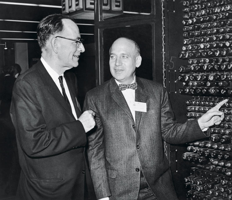 </a> Codesigners John Mauchly (left) and Presper Eckert with ENIAC in 1966. The team put Ping-Pong balls on the bulbs as the computer began processing the data, the audience would be awed by the blinking Ping-Pong balls, a spectacle that became a staple of movies and TV shows.Photo: Hulton Archive/Getty Images