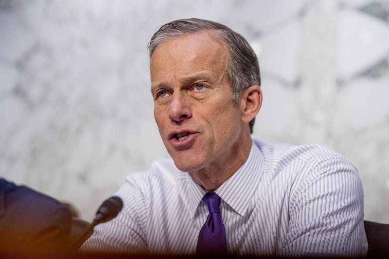 Sen. John Thune, R-S.D., questions Boeing Company President and Chief Executive Officer Dennis Muilenburg as he appears before a Senate Committee on Commerce, Science, and Transportation hearing on 'Aviation Safety and the Future of Boeing's 737 MAX' on Capitol Hill in Washington, Tuesday, Oct. 29, 2019. (AP Photo/Andrew Harnik)