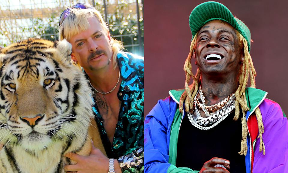 Joe Exotic and Lil Wayne had both hoped for pardons from President Donald Trump. (Photo: Getty Images)