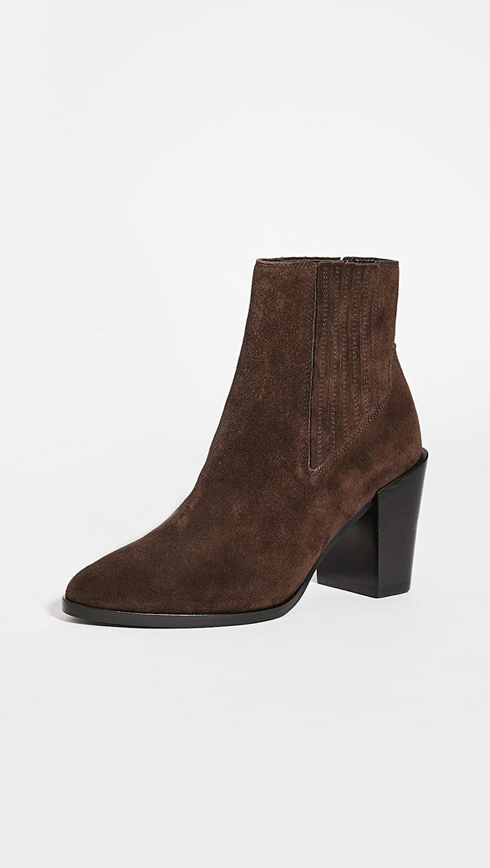 <p>Brown is one of the colors to watch this year, and these chocolate <span>Rag &amp; Bone Rover High Booties</span> ($450) are so versatile.</p>