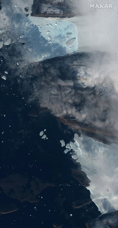A handout satellite photo of Tracy and Heilprin glaciers