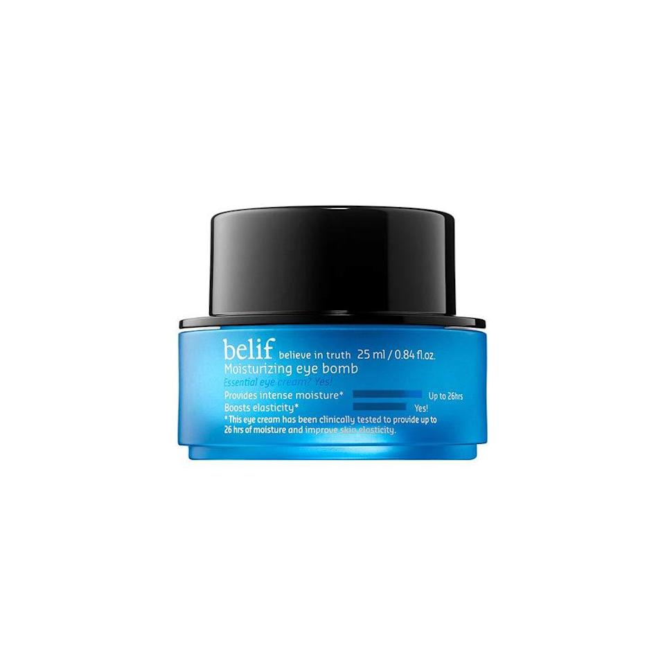 """Like a tall glass of water for your undereye area, Belif's <a href=""""https://www.allure.com/gallery/allure-editors-favorite-new-beauty-products-january-2021?mbid=synd_yahoo_rss"""" rel=""""nofollow noopener"""" target=""""_blank"""" data-ylk=""""slk:Moisturizing Eye Bomb"""" class=""""link rapid-noclick-resp"""">Moisturizing Eye Bomb</a> kicks hydration into overdrive. The line-smoothing cream promises long-lasting moisture and a visibly radiant finish."""