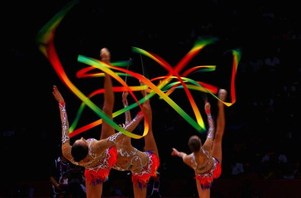 Russia perform during the Group All-Around Rhythmic Gymnastics Final Rotation 2 on Day 16 of the London 2012 Olympic Games at Wembley Arena on August 12, 2012 in London, England. (Photo by Quinn Rooney/Getty Images)