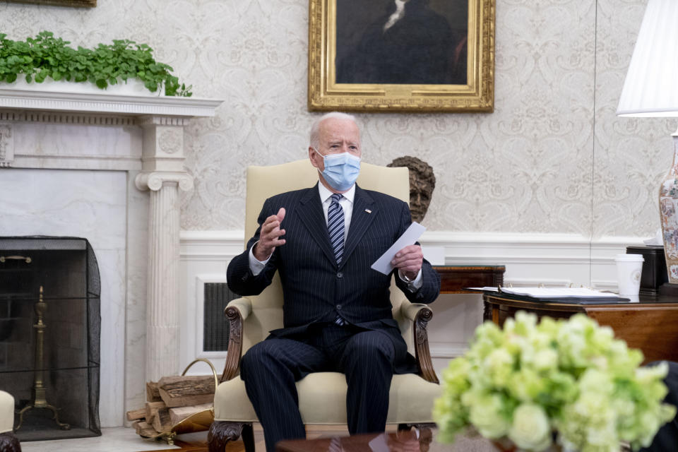 In this April 19, 2021, photo, President Joe Biden speaks in the Oval Office of the White House in Washington. (AP Photo/Andrew Harnik)