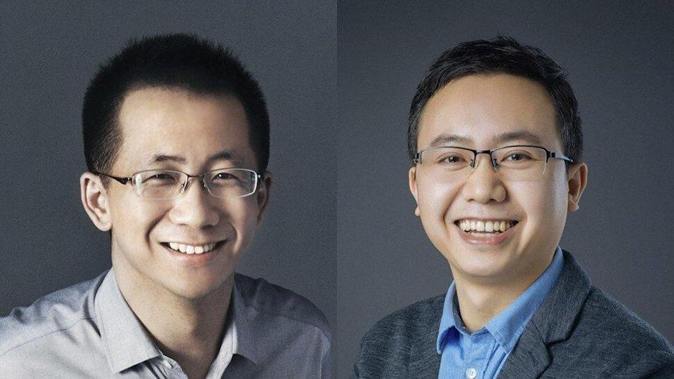 Composite image of Zhang Yiming (left) and Liang Rubo (right). Photo: ByteDance